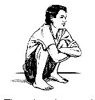Iluustration of squatting position for bodywork and bioenergetic therapy